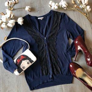 🏰 H&M lace trimmed cardigan